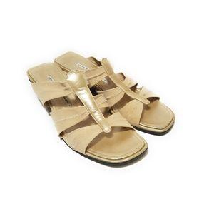 DONALD PLINER Womens Gold Stretch Sandals Size 7
